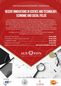 2nd International Scientific Conference Recent Innovations in Science and Technology, Economic and Social Fields