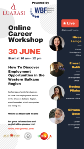 Online Workshop: How to discover employment opportunities in the Western Balkans Regions