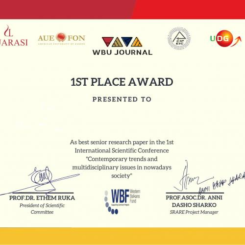 """Awards for the 1st International Scientific Conference """"Contemporary Trends and Multidisciplinary Issues in Nowadays Society"""""""