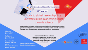 """4th International Scientific Conference """"Local to global research policy: universities role in orienting society towards science"""